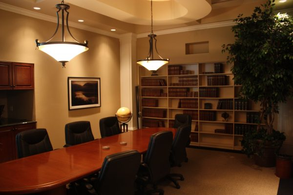 Suite 200 conference room with custom ceiling